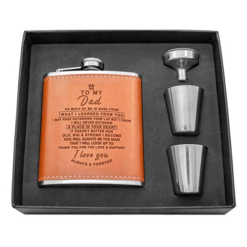 Personalized Engraved Hip Flask -7oz with Funnel- Stainless Steel Flask Sets, The Perfect flasks for liquor for men Gift, Boyfriend Gift, Husband Day Gift or Groomsmen Gift (Brown-For Dad)