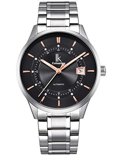 Alienwork Reloj Mecánico Automático Relojes Automáticos Hombre Mujer Acero Inoxidable Plata Analógicos Unisex Calendario Fecha Negro Impermeable