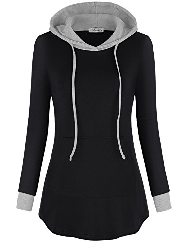 Finice Lightweight Hoodie, Womens Classy Colorblock Long Sleeve Versatile Pocket Top Baggy Knitted Pullover Sweatshirt Tunic for Legging Black XXL