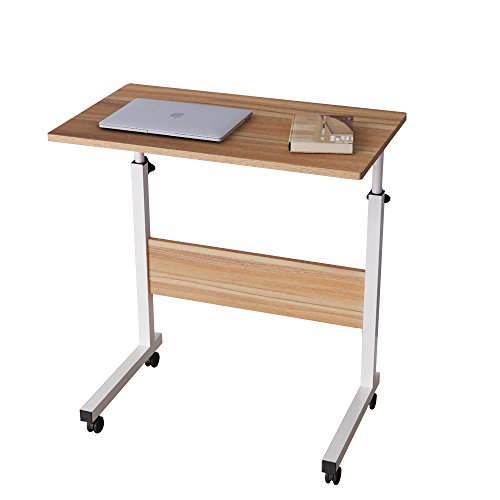 sogesfurniture höhenverstellbar Laptoptisch Laptopständer Computertisch mit Rollen, mobiler Beistelltisch Pflegetisch für Bett und Sofa, 60 * 40 * 71-90cm, Eiche 05#1-60OK-BH