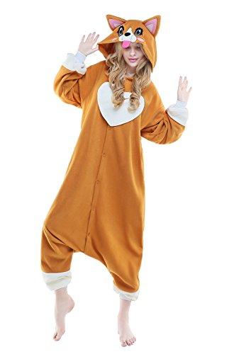 CANASOUR Halloween Adult Unisex Anime Corgi Women's Onesie Cosplay Costume (Small) Orange