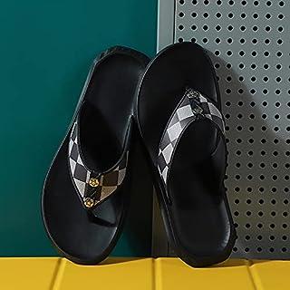 XFBH 2 pares de chanclas nuevas rayas celosía todo partido sandalias hombres casa al aire libre antideslizante playa zapat...