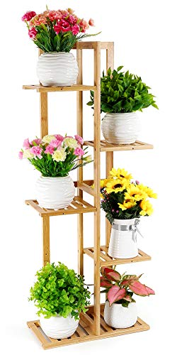 corner shelf unit for flowers FOLDIFY Bamboo Plant Stand Indoor&Outdoor Multiple Flower Pot Holder Shelf Rack Unit for Patio Garden Corner Balcony Living Room(6 Flowerpots)