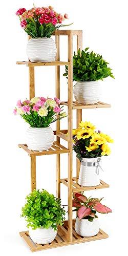 竹质花架,把家里的花花草草展示得漂漂亮亮