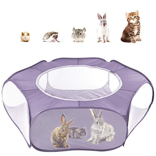 Pawaboo Kleintiere Freigehege, Wasserdicht Faltbar Kaninchen Freilaufgehege mit Atmungsaktiv Netz und Reißverschluss, Tragbar Außen Innen Laufstall für Hasen Hühner Kätzchen Welpen Hamster - Lila