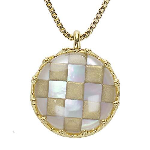 真珠の杜 水晶 ネックレス 白蝶貝 クォーツ シェル SV925 シルバー925 銀 市松模様 金色 ペンダント メンズ 誕生石 4月 m-dpn658-689gps