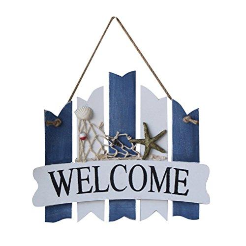 VORCOOL Welcome - Red de Pesca de Madera, diseño de Estrella de mar, decoración de Pared náutica, Estilo mediterráneo, diseño de Playa