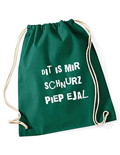 Turnbeutel grün bedruckt mit Berliner Sprüchen - Schnurz piep ejal - Rucksack / Sportbeutel / Sprüche Gymsack vom Label SPREE Klamotte - Berliner Schnauze