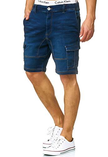 Indicode Caballero Chandos Pantalones Cortos Cargo con 6 Bolsillos de Estilo Vaquero Desgastado 84% algodón | Más Corto Pantalón Regular Fit Stretch Pantalones Men Pants para Hombres