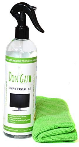 Don Gato - Limpiador de Pantalla + Paño Microfibras (500ml) para TV, Tableta, PC/portátil, LCD, LED, móvil. Hecho en España con Productos Naturales, sin Alcohol