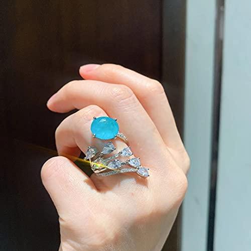 YANGYUE Único de Plata de Ley 925, Diamantes de Alto Contenido de Carbono, Piedras Preciosas Azules, Anillos de Mujer, alianzas de Boda, Regalo de joyería Fina