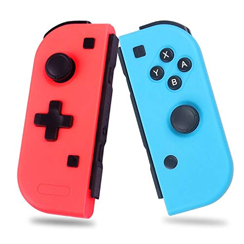 Wireless Controller for Nintendo Switch, Left and Right Switch Pro Remote Controller, Upgrade Version Plug and Play Auto Connect, Bigger Size Not Official Original, Blue Red