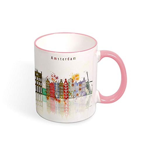 Taza de café Amsterdam City Skyline, Países Bajos, taza de té, recuerdo de viaje, cumpleaños, Navidad, idea de regalo para hombres o mujeres, taza de 325 ml