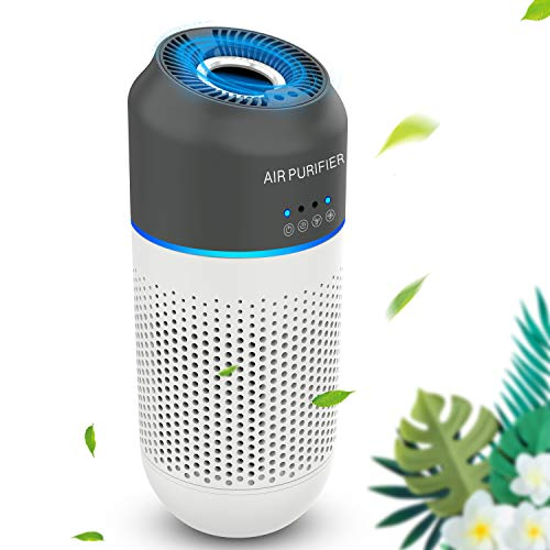 Air Purifier & Mini HEPA Air Purifier with 4-Stage Filtration Air Cleaner for Car & Office, Eliminates Smoke, Dust, Pollen, Pet Dander, Low Noise and USB Powered