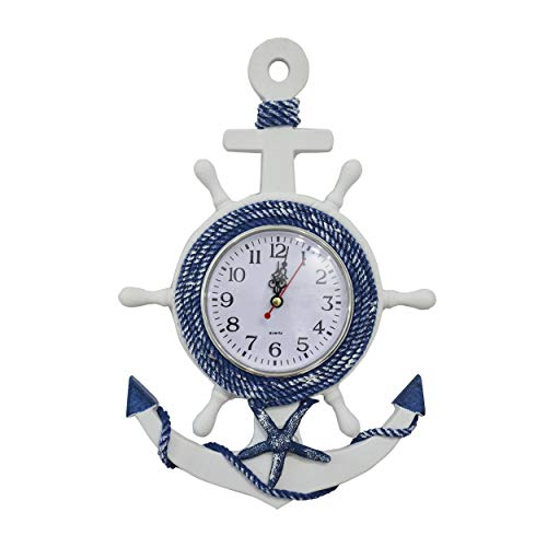 HOGAR Y MAS Reloj de Pared Ancla Madera Blanca, Decoración Marinera. Ancla Madera Pared Reloj Azul 33x22x2 cm