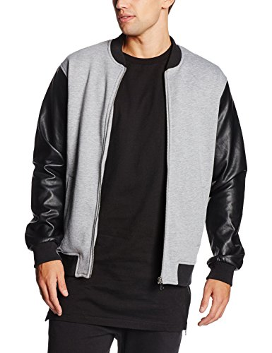Urban Classics Herren Zipped Leather Imitation Sleeve Jacket Jacke, Mehrfarbig (Gry/blk 119), Small