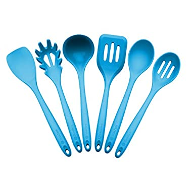 StarPack Home Silicone Kitchen Utensil Set with 101 Cooking Tips, X-Large, 13.5-Inch (6 Piece Set) - Teal Blue