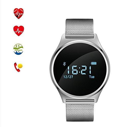 Smartwatch met Bluetooth, ultradun, voor fitness, sport, smartwatch, met touchscreen, 0,96 inch, OLED, stappenteller, afstand, hartslagmeter, calorieverbruik, bloeddrukmonitor, slaapmonitor, enz., Argento acciaio