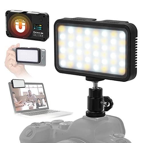 Moman Luce Led per Fotocamera e Smartphone, Faretto Fotografia Portatile per Video CRI 95+, Led DSLR Reflex 3000K-6500K, Faretto-Fotografia-Luce-LED-Video