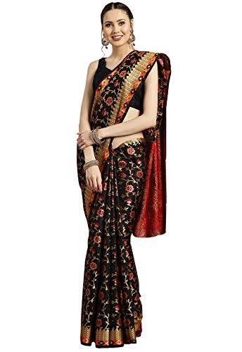 Ishin Poly Silk Black Woven Women's Saree