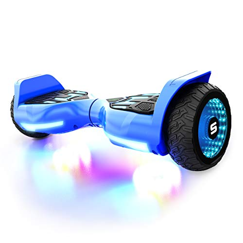 SWAGTRON Swagboard T580 Warrior Hoverboard with Speaker Synced Lighting FX Powered by LiFePo Battery Technology, Blue, 500W