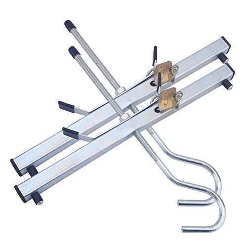 EBTOOLS - Baca de techo universal de aluminio con cerradura para coche, furgoneta, coche, furgoneta, techo, etc. Incluye 2 candados.