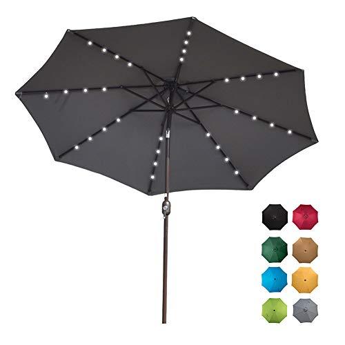 Sundale Outdoor Solar Powered 32 LED Lighted Patio Umbrella Table Market Umbrella with Crank and Push Button Tilt for Garden, Deck, Backyard, Pool, 8 Steel Ribs, 9 Feet, Gray