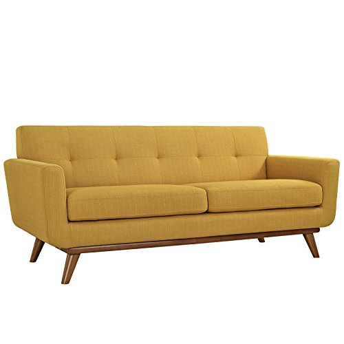 Modway Engage Mid-Century Modern Upholstered Fabric Loveseat in Citrus