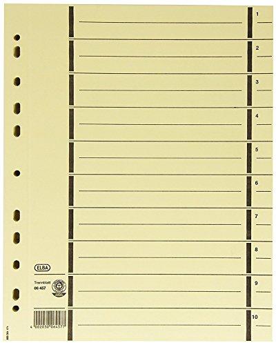 ELBA Trennblätter aus Recycling-Kraftkarton für DIN A4 200er Pack mit Perforation mit Linienaufdruck chamois Trennlaschen Trennblätter Ordner Register Kalender Blauer Engel