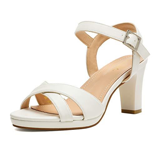 DREAM PAIRS Women's ICE-1 High Chunky Block Platform Heels Open Toe Ankle Strap Dress Pump Heel Sandals White Size 8