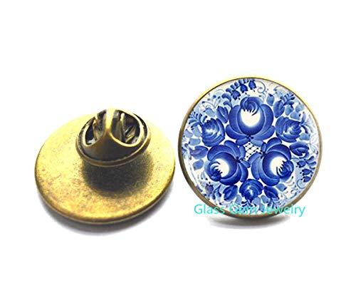 Broche Gzhel, broche de impresión rusa azul, joyería de arte tradicional ruso, broche popular ruso, joyería de arte étnico, broche étnico, Q0114