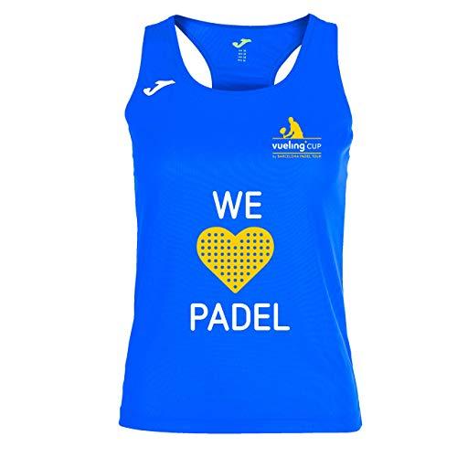 Barcelona Padel Tour | Camiseta Técnica de Tirante Ancho para Mujer Joma Vueling Cup | En Tejido Micro Mesh Transpirable y Estampación Especial de Pádel | Ropa Deportiva Azul Royal XL