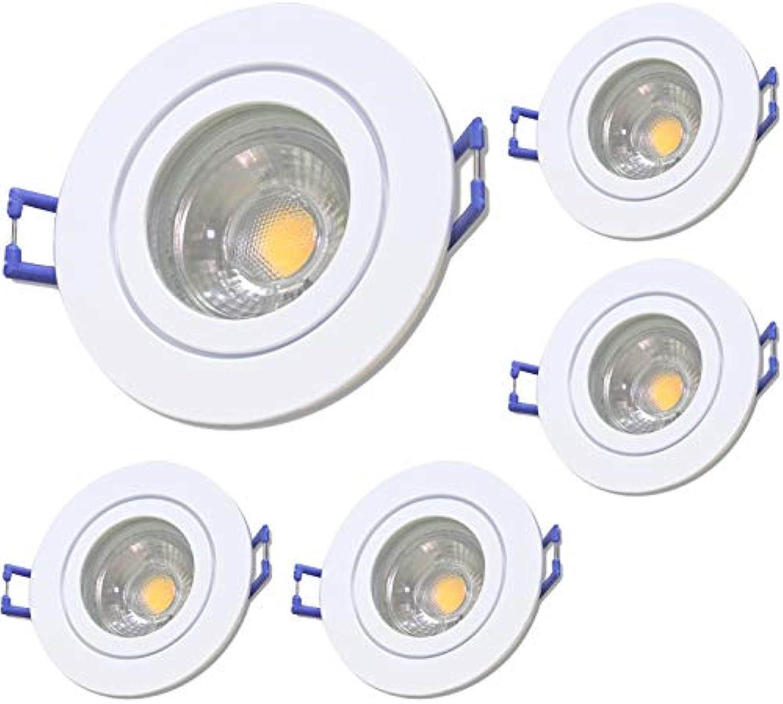 5 Stück IP44 MCOB LED Bad Einbaurahmen Neptun 12 Volt 5 Watt Rund Farbe Wei Lichtfarbe Warmwei