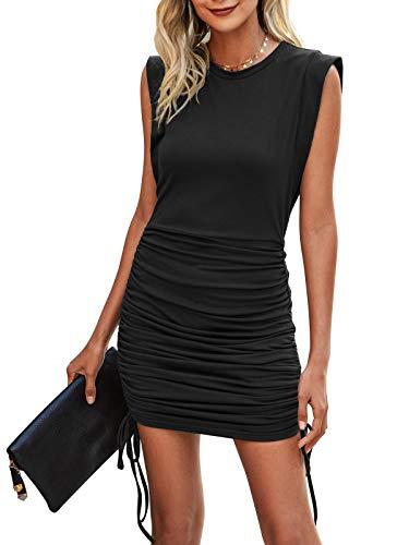 Bequemer Laden Damen Ärmelloses Sommerkleid Rundhalsausschnitt Minikleid Blusenkleid Kleid mit Geraffter Seiten-Kordelzug für Freizeit Party Dating