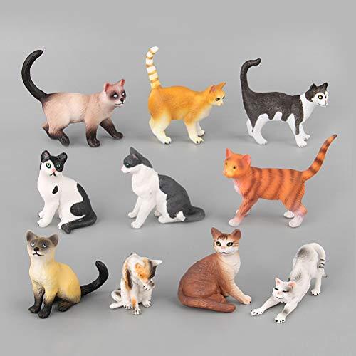 Yeahibaby - Figuras de gato con forma de animales de plástico realistas, juego de 10 unidades