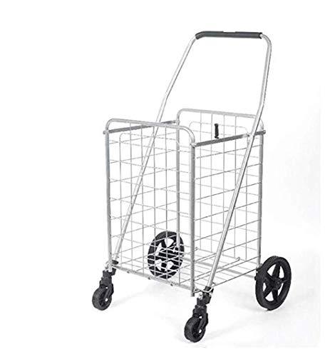 LQBDJPYS Großer, robuster, zusammenklappbarer Allzweck-Einkaufstrolley für Lebensmittel, Gepäck,...