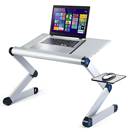 newoer Ultra Large Adjustable Laptop Table Desk, Foldable Aluminum Laptop Stand- Upgraded Sturdier, Multi-use& Ergonomic Laptop Bed Table Laptop Riser Holder for Bed/Sofa/Desk- Silver