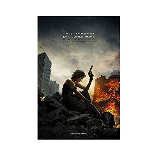 """Poster in tela con scritta """"Horror Movie Resident Evil The Final Chapter"""", decorazione per camera da letto, sport, paesaggio, ufficio, decorazione per la stanza da letto, 30 x 45 cm, senza cornice: 1"""