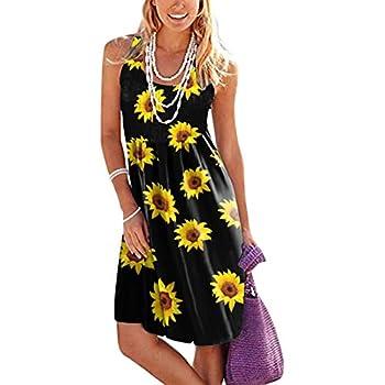 Tavorpt Bohemian Dress for Women Women s Swing Sleeveless Daisy Print Short Dress Casual Beach Sundress Tank Dress
