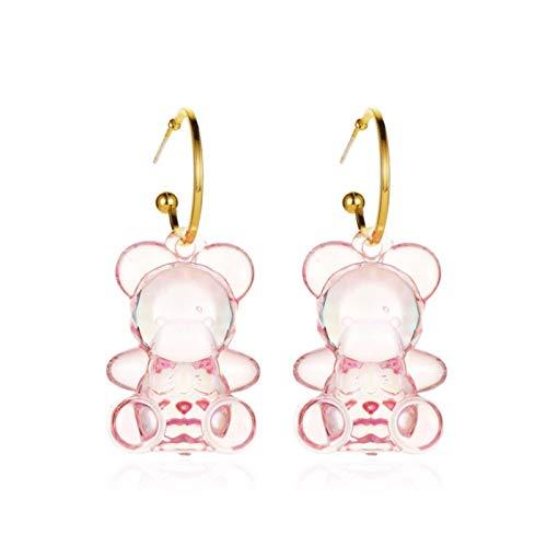Yosemite - Pendientes de diseño de oso transparente tridimensional para mujer, color rosa