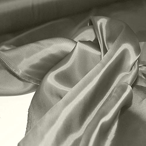 TOLKO 1m Futterstoff | Futter-Taft als Dekostoff universal Stoff zum Nähen Dekorieren | Blickdicht knitterarm | 142cm breit Modestoff Hochzeitsstoff Kleiderstoff Kostümstoff Meterware (Grau Viskose)
