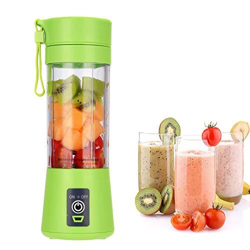 Mixeur portable, taille personnelle, shakes et smoothies, mini presse-agrumes rechargeable par USB, mixeur de voyage portable 380 ml (vert)