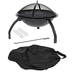 Portable camping fire pit with BBQ grill, folding legs and carry bag Use for camping, at the beach or in your back garden Camping bowl has mesh lid and wood grate. High temperature black paint finish Made from steel and finished in black heat resista...