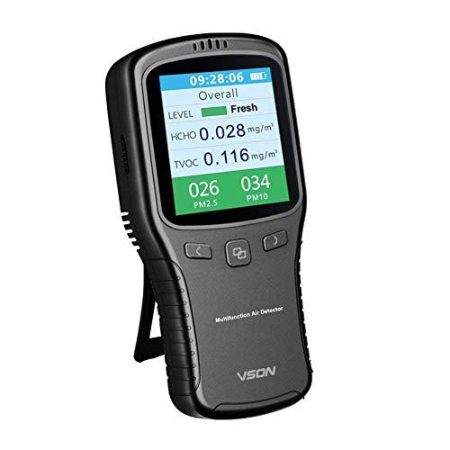 VSON Grau Luftqualitäts-messgerät in Innenräumen Genaue Prüfung Formaldehyd (HCHO) TVOC PM2.5 PM1.0 Professionelle Handheld Luftqualitäts Monitor für Zuhause Auto Außenerkennung (Grau)
