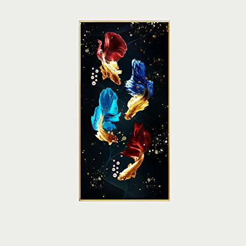 OLGKJ Lotu Estanque Koi Pez Feng Shui Carpa Pared Arte Cuadros Salon Oro Poster Y Impresiones Nórdico De la Lona Pintura Inicio Decoracion 50×100cm Sin Marco