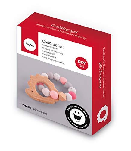 Rayher 70042000 Bastelpackung Greifling Igel, rosa, Box 17 Teile, Holzigel, Silikonperlen, Holzperlen, Fädelschnur, speichel- und schweißecht, Beißring für Babys zum Selbermachen