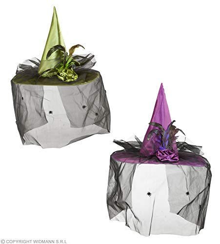 Witch Hats W/Veil Flower & Feathers (Green/Purple)