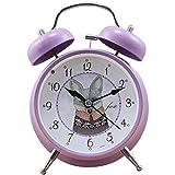 クラシック100%の金属時計、子供12x5x15cmヴィオラのための音が出ないクロックをマーキングしない静かなダブルベルアナログデスクトップの時計の夜のライトガイド(5x2x6ini),バイオレット,12x5x15cm(5x2x6ini)
