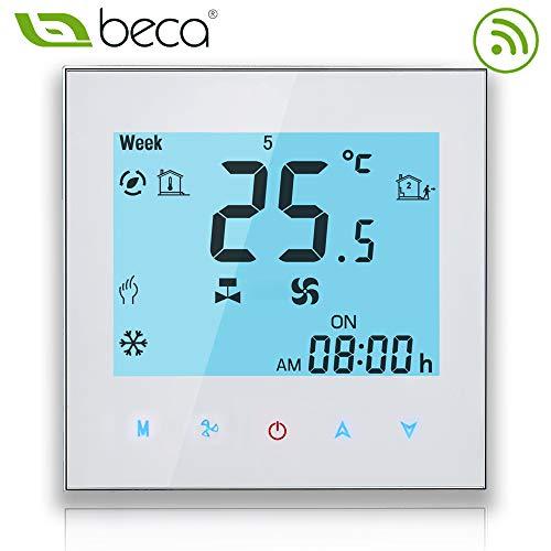 Elektroheizung, Geb/ürstete SS BECA 3000 Serie 16A LCD Touchscreen Elektroheizung Intelligente Programmiersteuerung Thermostat mit WIFI-Verbindung WIFI