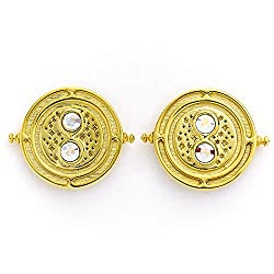 Official Harry Potter Time Turner Sterling Silver, Gold Plated Stud Earrings embellished with Swarovski Crystals